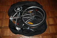 A 26 inch wheel bike in a Bike Bag