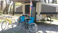 SP26S folding bikes in a camp